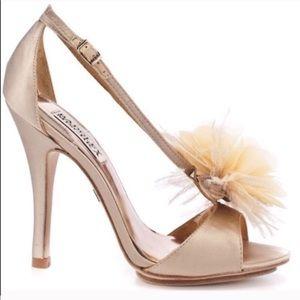 Badgley Mischka Champagne Feather Satin Heels 8.5